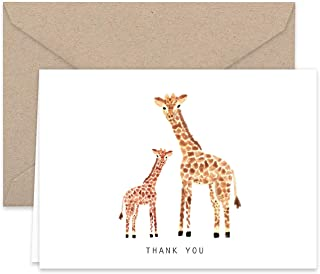 Paper Frenzy Giraffe Thank You Note Cards and Kraft Envelopes 25 Pack
