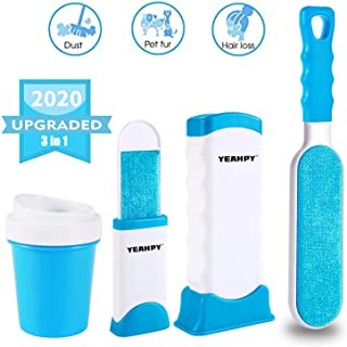 YEAHPY Pet Hair Remover Brush Lint Remover Set with Self-Cleaning Base Efficient Double Sided Animal Hair Removal Tool Dog Paw Cleaner