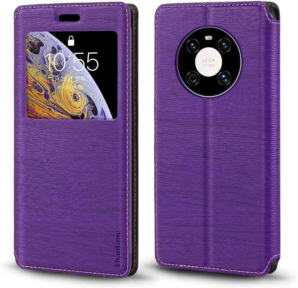 Huawei Mate 40E 4G Case, Wood Grain Leather Case with Card Holder and Window, Magnetic Flip Cover for Huawei Mate 40E 4G