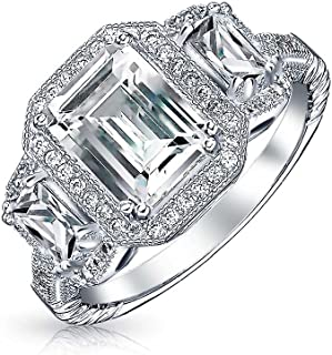 3CT Deco Style Rectangle Halo Past Present Future 3 Stone Emerald Cut CZ Engagement Ring CZ 925 Sterling Silver