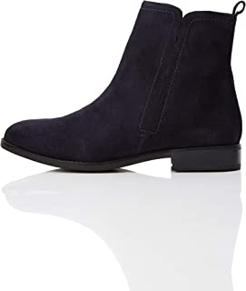 Amazon Brand - find. Women's Flat Leather Pull On Ankle Boot Blue Navy), (US 7)