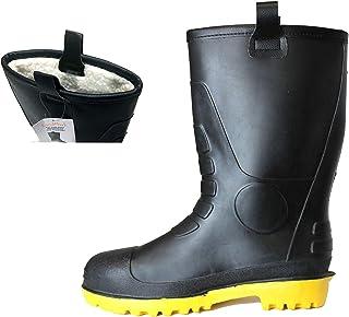 L&M Mens Waterproof Fur Interior Rubber Sole Winter Snow Rain Boots Insulated