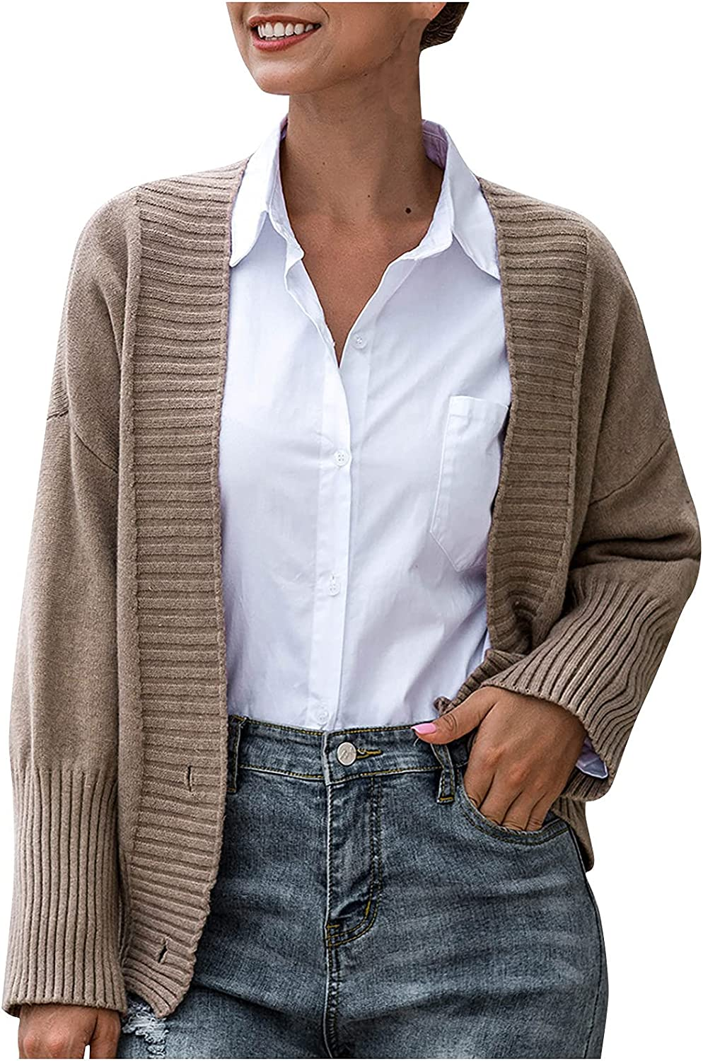 Women's Knitted Sweater Cardigan Casual Button Down Knit Long Cardigans Winter Comfy Plain Color Thick Sweaters