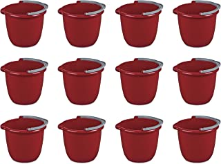 Sterilite 11205812 10 Quart/9.5 Liter Spout Pail, Classic Red, 12-Pack