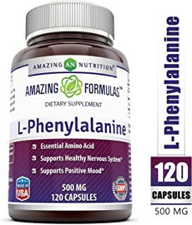 Amazing Nutrition Amazing Formulas L-Phenylalanine Dietary Supplement - 500 mg - 120 Capsules - Supports Healthy Nervous System - Promotes Positive Mood