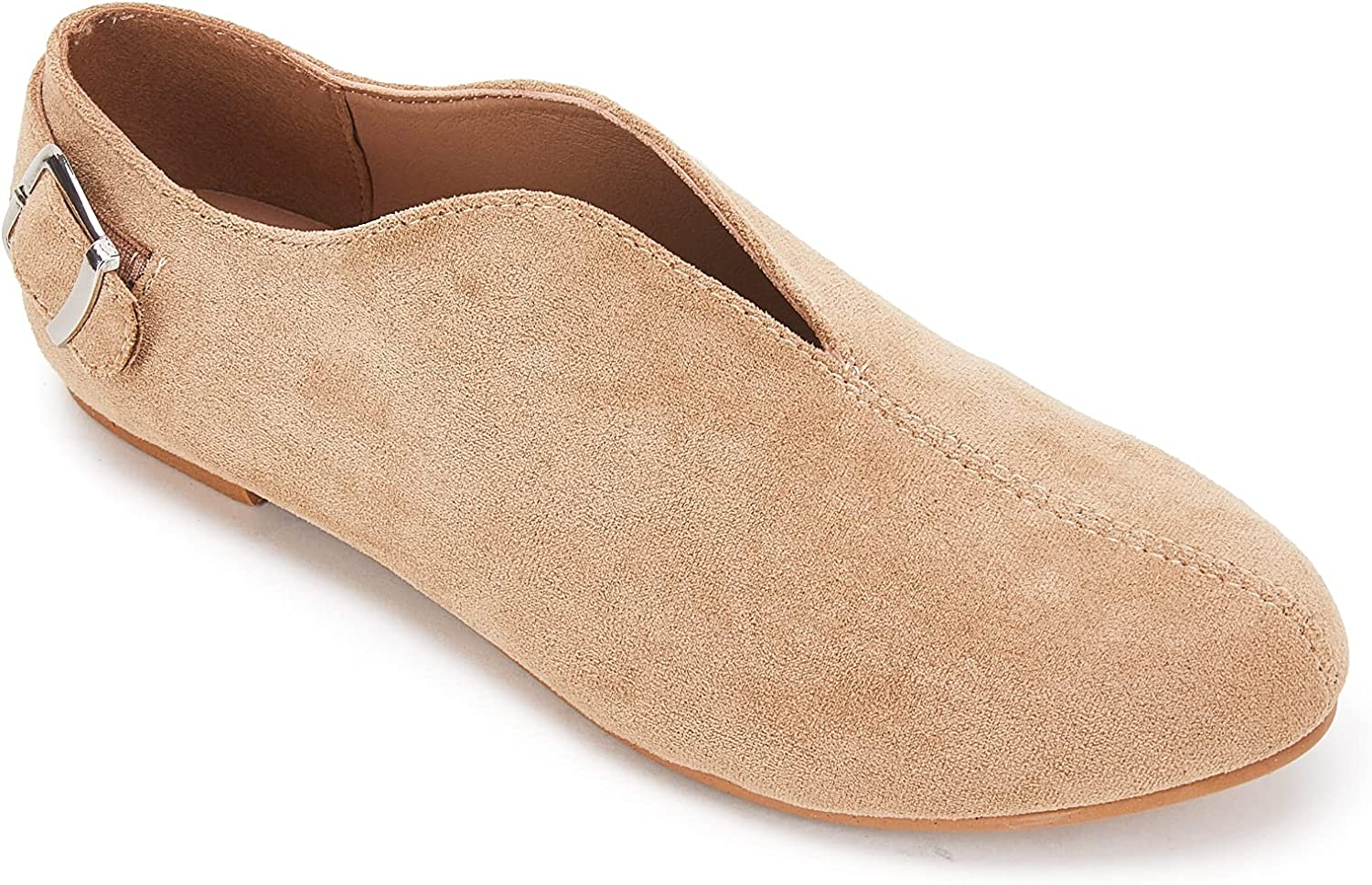 Beotyshow OFFer Pointed Toe Year-end annual account Flats for Women Suede Comfy Solid Classic