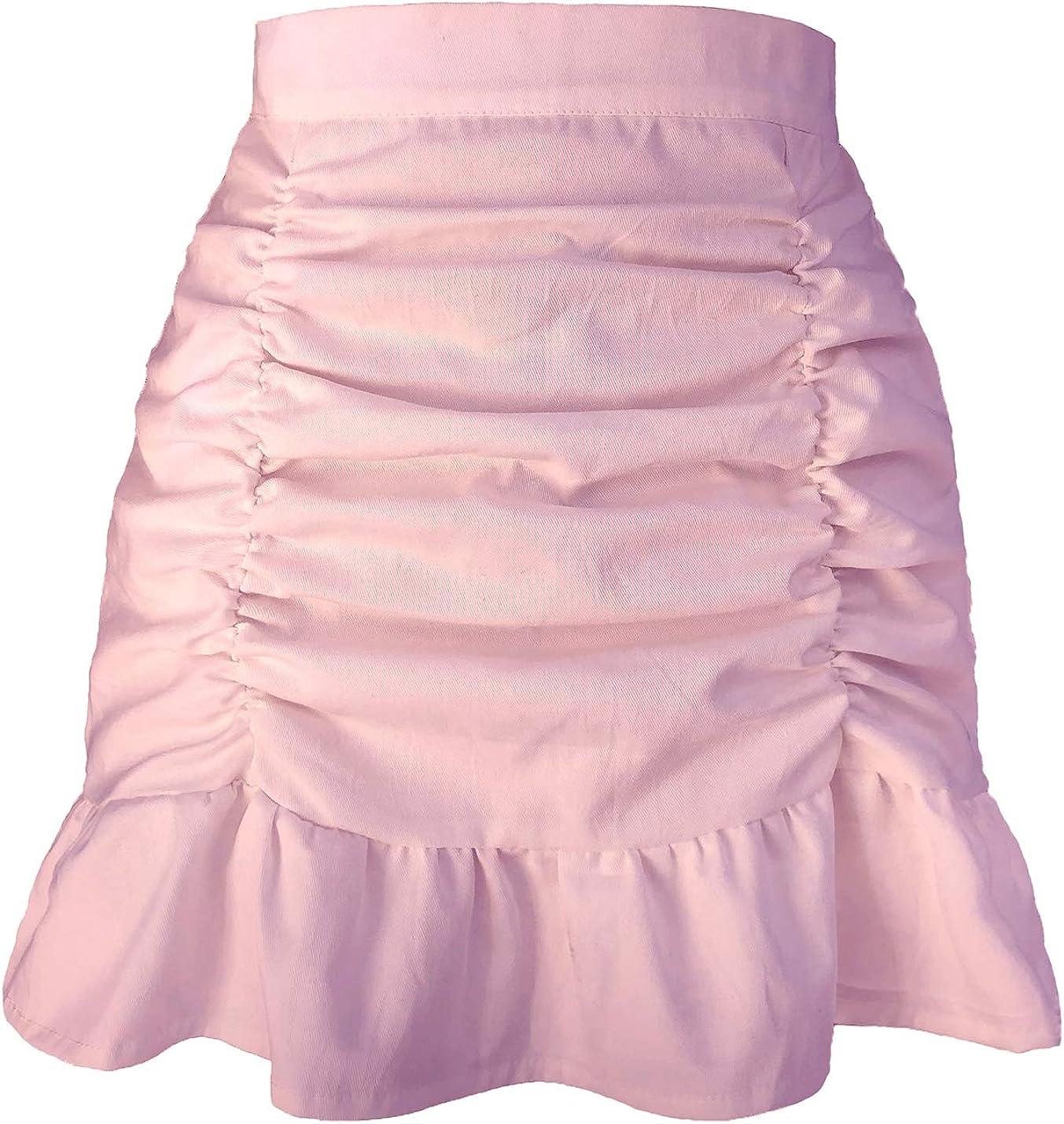 IKIIO Women's Casual Summer Solid High Waist Ruffle Hem Pleated Skirt Flared A Line Skirts