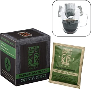 Tribo Coffee Single-Serve Portable Pour Over Drip Coffee - Specialty Grade - Expedition Blend - 10 Servings Per Box (Medium Roast)