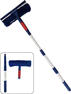 Professional Window Cleaner Squeegee with Extension Pole Up to 3 Ft Long | 2-in-1 Squeegee and Scrubber Washer Tool | Wind...