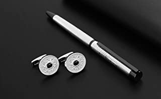 PEN & CUFLLENKS SET FOR MEN SILVER- round shape