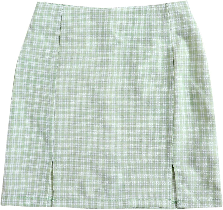 SweatyRocks Women's Summer Split Hem Zipper Back Mini Skirt