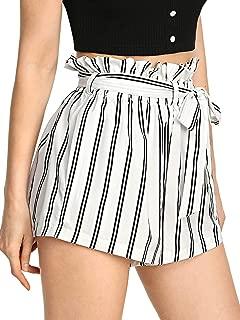Jollymoda Women's Elastic Waist Striped Shorts Jersey Walking Paper Bag Shorts