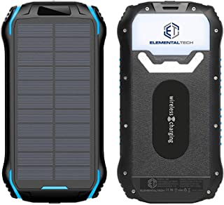Elemental Tech Solar Power Bank Charger - Portable USB with 26800mAh, Qi Wireless, Waterproof, 4 Output & Input, LED Flash...