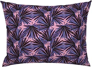 Roostery Pillow Sham, Botanical Banana Leaf Jungle Preppy Leaves Chinoiserie Decor Plants Pink Floral Hollywood Regency Print, 100% Cotton Sateen 26in x 26in Knife-Edge Sham