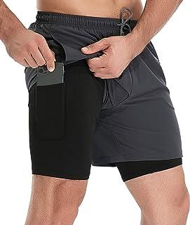 شورت رجالي 2 في 1 من TELALEO لممارسة التمارين الرياضية مقاس 5 بوصات لصالة الألعاب الرياضية طبقة مزدوجة مع جيوب بسحاب