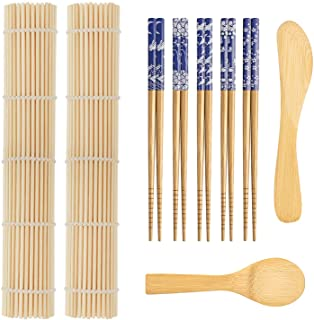 9 PCS Premium Sushi Making Kit, Sushi Mat, Including 2 Sushi Roller - Glue Free, 5 Pairs of Chopsticks, 1 Paddle, 1 Spread...