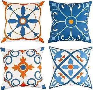 Outdoor Waterproof Throw Pillow Covers Water Resistant Outdoor Pillow Covers for Patio Furniture Garden 18x18 Inch Blue,Se...