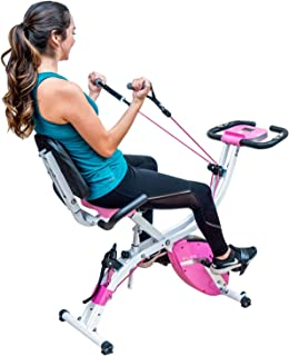 PLENY 3-in-1 Total Body Workout Exercise Bike w/Backlit Screen, High Backrest, Adjustable Resistance Bands for Arm & Leg, and 300 lbs Weight Support