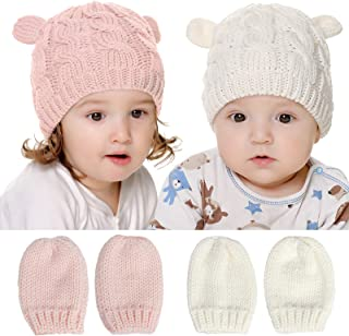 Baby Beanie Baby Hat and Mitten Set Knit Baby Winter Hat Mittens for Newborn Boy Baby Girl Beanie Hats