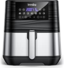 Innsky 5,5L XXL Friteuse Sans Huile 11-en-1, Air fryer en Acier Inoxydable, Écran LCD Numérique, Livres de 32 Recettes, Fr...