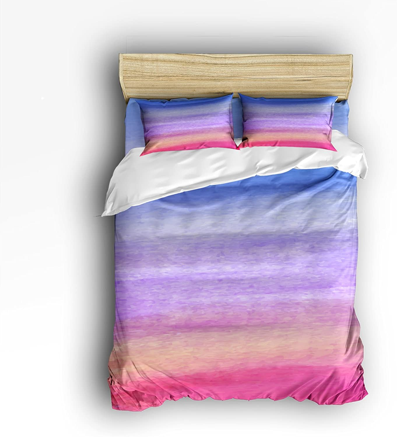 Libaoge 4 Piece Bed Sheets Set, Abstract colorful Watercolor Print, 1 Flat Sheet 1 Duvet Cover and 2 Pillow Cases