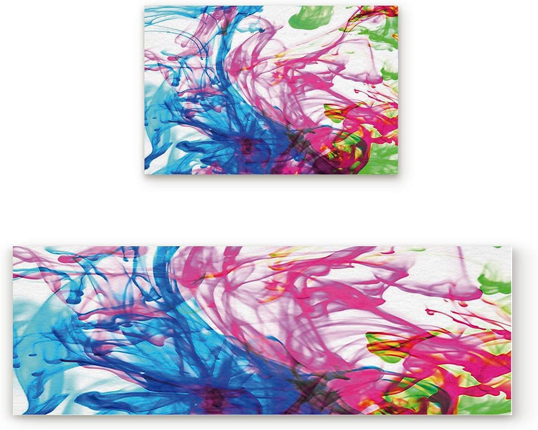 KAROLA 2 Piece Non-Slip Kitchen Mat Doormat Runner Rug Set Thin Low Pile Indoor Area Rugs colorful Ink 19.7 x31.5 +19.7 x63