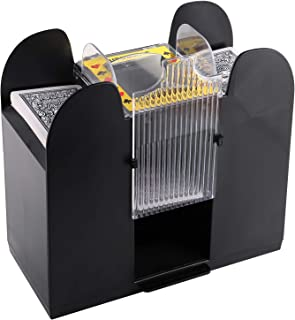 Suwimut 6 Deck Automatic Playing Card Shuffler, Battery Operated Casino Dealer Travel Machine for Poker, Black (Cards Not ...