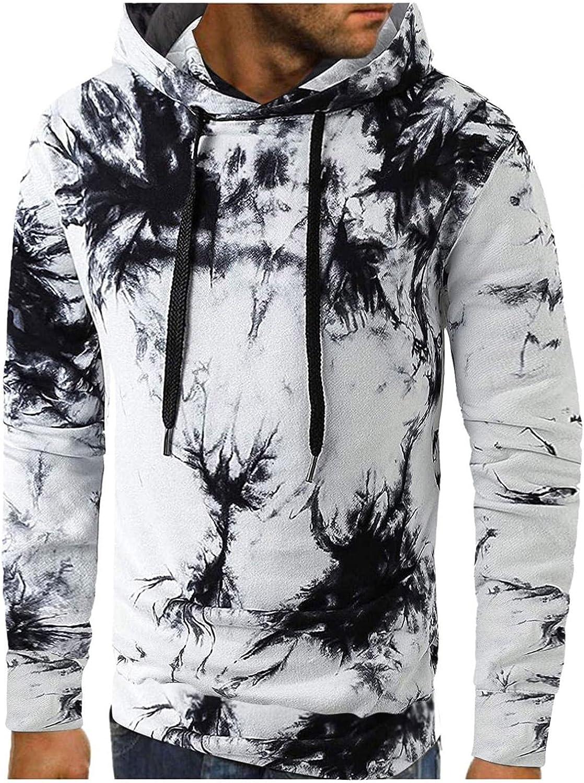 Men's Hooded Pullover Sweatershirts Long Sleeve Drawstring Tie-dye Hoodie Tops Casual Loose Shirt Lightweight Blouse