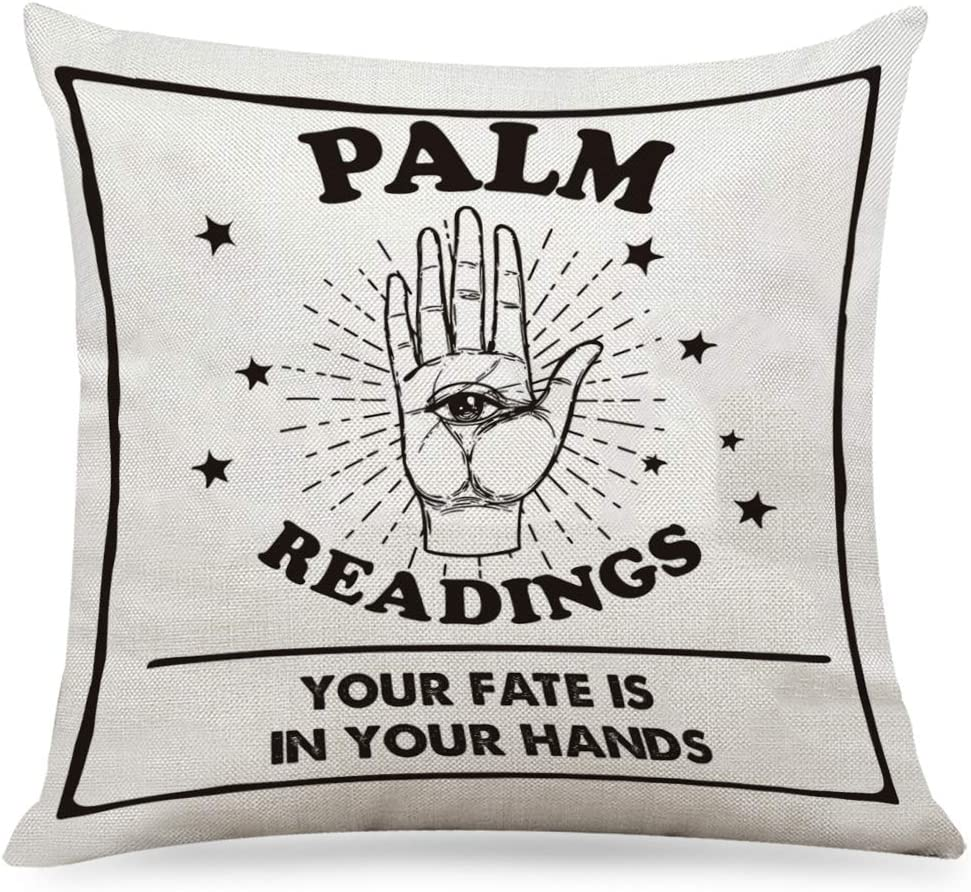 """chillake Vintage Tarot Readings Quotes Pillow Covers - Spiritual Guidance Tarot Cards Pillow Case Cushion Cover for Sofa Couch Witchy Decor Home Decorations 18""""x 18""""Inch"""
