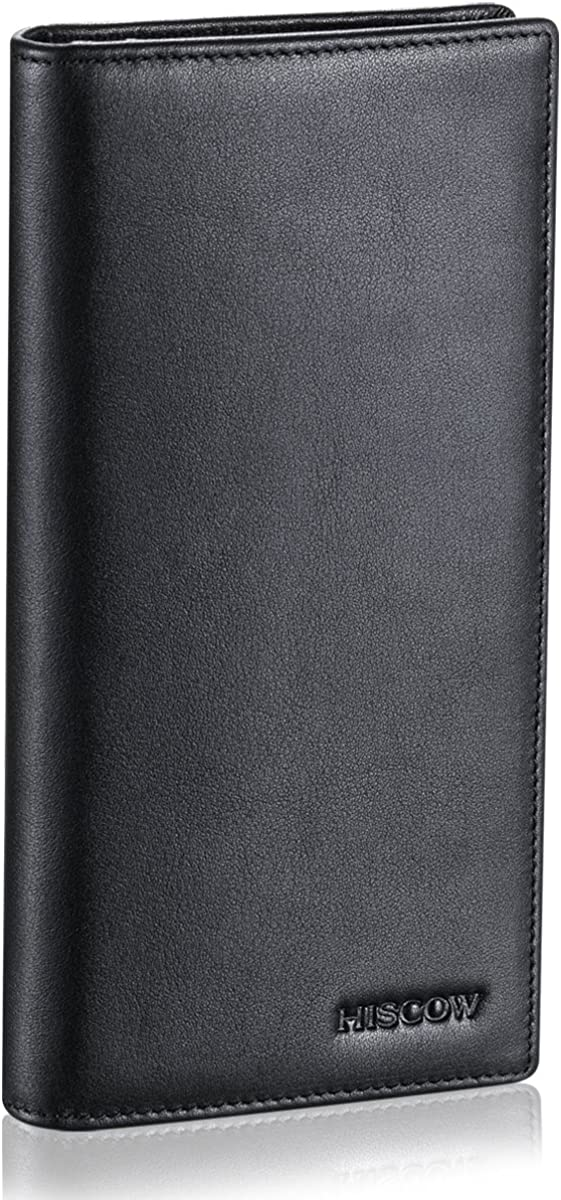 HISCOW Bifold Long Wallet with 15 Credit Card Slots - Italian Calfskin