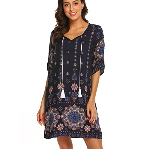 1be6a957844 Halife Women s Vintage Ethnic Style Printed Tassel Tie Neck Loose Fit  Bohemian Tunic Dress