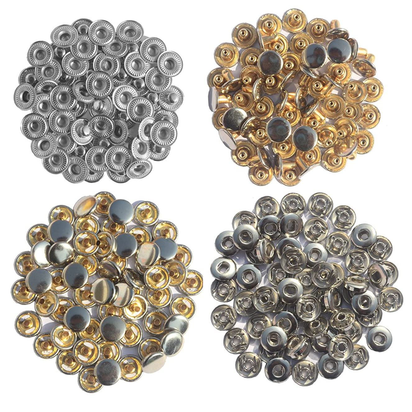 DGOL 60 Sets Press Fasteners Copper Poppers Coat Clothes Leather Studs 633 Rivets Snaps Button (Silver) bclhdjdlck6362