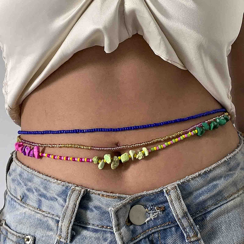 Kakaco Boho Bead Waist Chain Turquoise Elastic Body Chain Layered Bikini Body Accessories Jewelry for Women and Girls