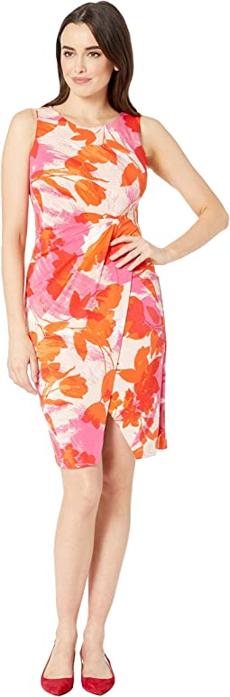 Sleeveless Printed Faux Wrap Dress