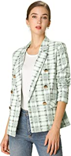 Allegra K Women's Double Breasted Blazer Notched Lapel Plaid Jacket with Pockets