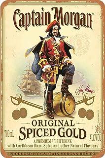 Classics Captain Morgan Spiced Gold Poster Rétro Signe d'étain Affiche Panneau Mural en métal Vintage Plaque Garage Bureau...