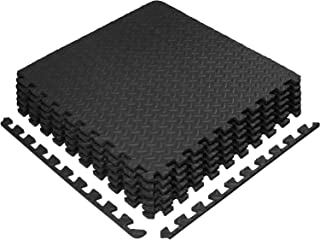 Yes4All Interlocking Exercise Foam Mats – Interlocking Floor Mats for Gym Equipment – Eva Interlocking Floor Tiles (24 Squ...