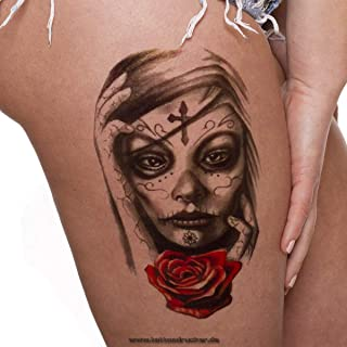 1 x Frau Schädel Totenkopf Rose Tattoo - Fake temporäres e