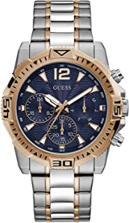 GUESS Men's Analog Quartz Watch with Stainless Steel Strap, Silver, 22 (Model: GW0056G5)