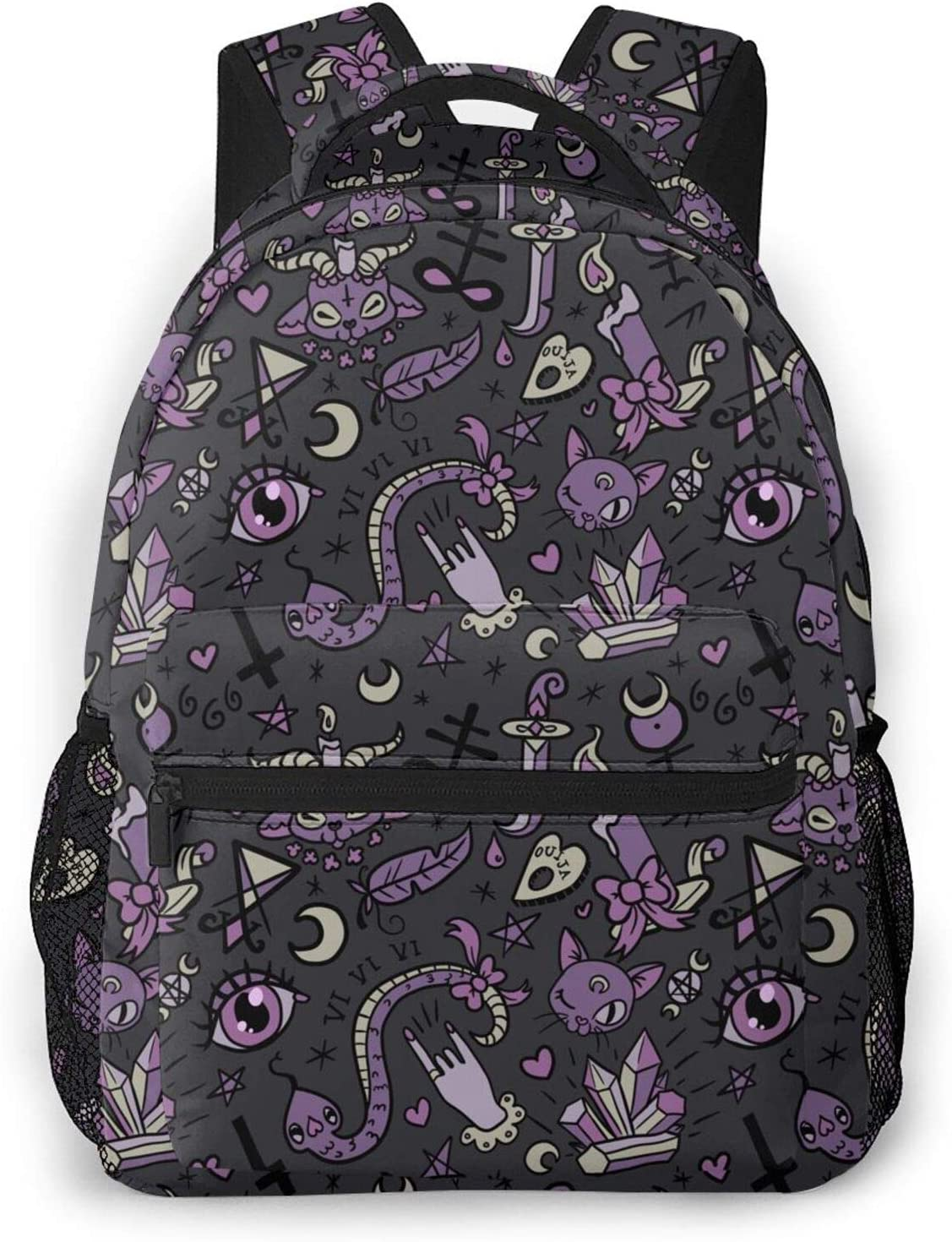 Cute Gray Purple Black Magic Outlet SALE Goth All Over Backpack Spooky Sale SALE% OFF Print