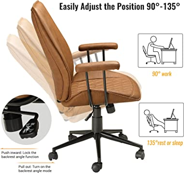 DICTAC Home Office Chair Leather Computer Chair Ergonomic Task Chair Mid Back Swivel Home Office Chair Adjustable Racing Chai