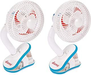 Diono Two2Go Stroller Fan, Clip-On Portable Cooling Fan for Child Comfort, White (2-Pack)