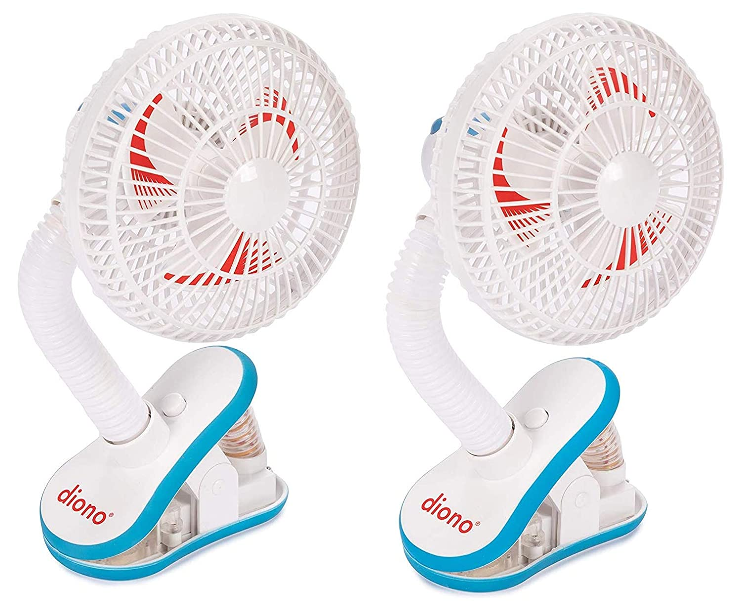 Diono Stroller Fans, Pack of 2 Clip On Baby Safe Stroller Fans with Flexible Neck for Perfect Angle, Universal Fit with Most Strollers