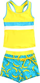 KABETY Little Girls Summer Two Piece Boyshort Fashion Tankini Swimsuit