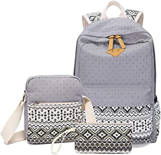 Backpack for Girls, Sugaroom School Backpack Canvas Dot Backpack Bookbags Teen Girls Backpacks Set