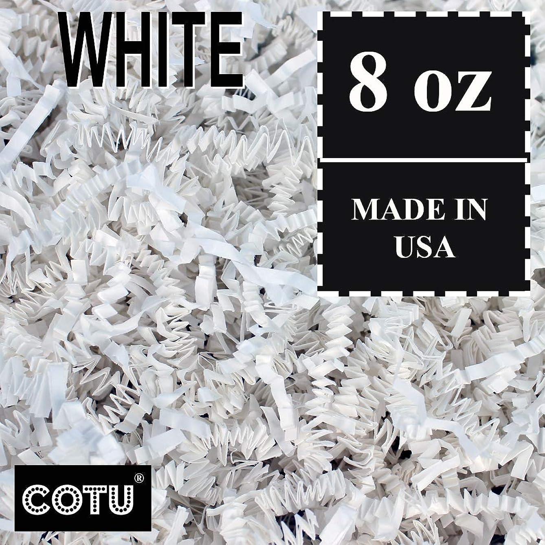 1/2 LB White Crinkle Shred Gift Basket Shred Crinkle Paper Filler Bedding by COTU (8 oz)