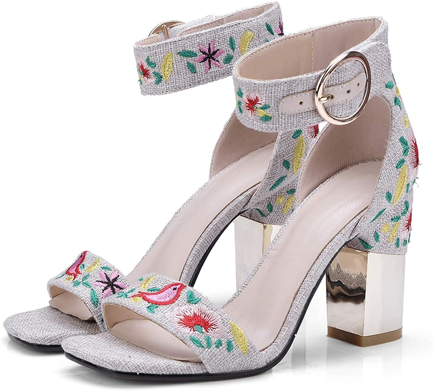 Summer Ladies shoes Square Heel Buckle Embroider Wedding shoes Women high Heels Sandals