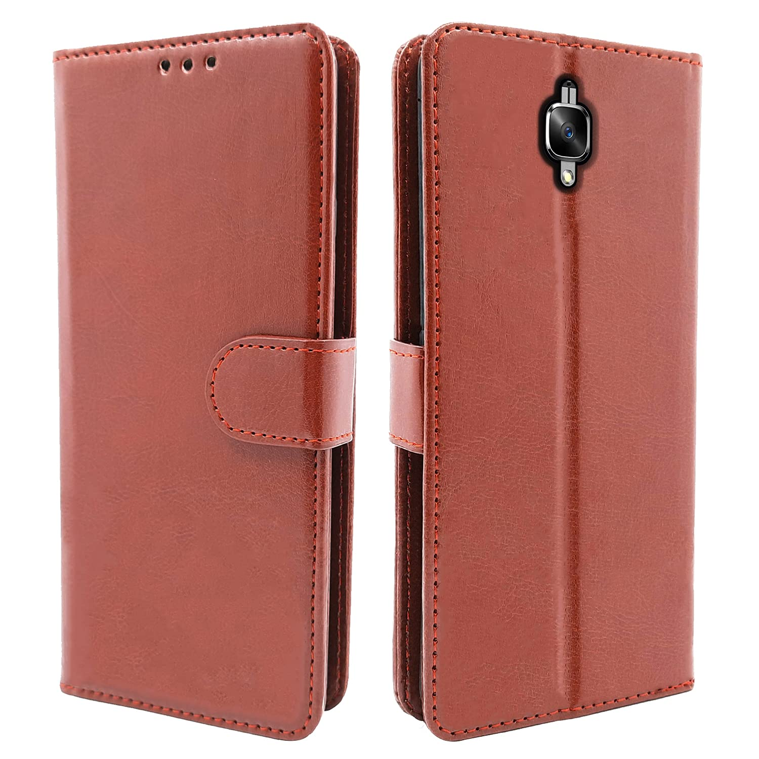 Pikkme Oneplus 3 / 3T Flip Cover Magnetic Leather Wallet Case Shockproof TPU for Oneplus 3 / 3T  Brown  Cases   Covers