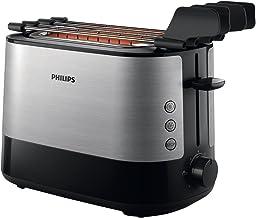 Philips HD2639/90 Broodrooster, 730 W, Extra Grote Sleuf voor Sandwichs, Zwart en Zilver
