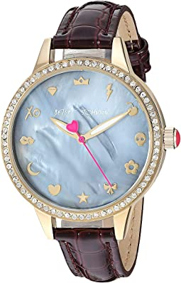 BJ00705-02 - Mixed Emoji Dial & Burgundy Strap Watch